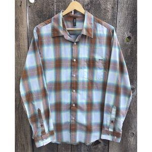 RVCA Casual Plaid Button Down Shirt, M